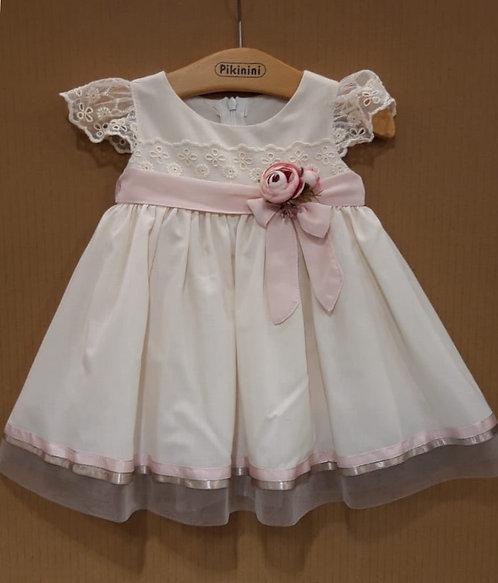 Dantelli Yarım Kollu Pembe Çiçekli Kurdelalı Bej Rengi Kız Bebek Abiye Elbise