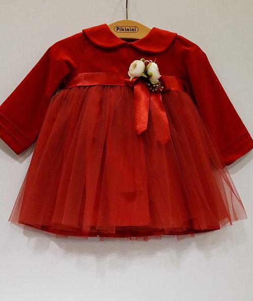 Uzun Kol Üstü Kadife Altı Tül Kırmızı Kız Bebek Abiye Elbise