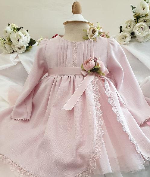 Yırtmaçlı Dantelli Uzun Kollu Pembe Kız Bebek Abiye Elbise