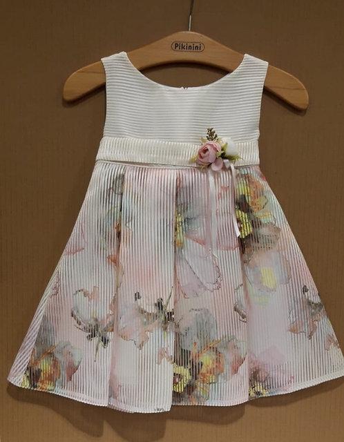 Çiçek Desenli Helezon Kumaş Bej-Pastel Renkli Çocuk Abiye Elbise