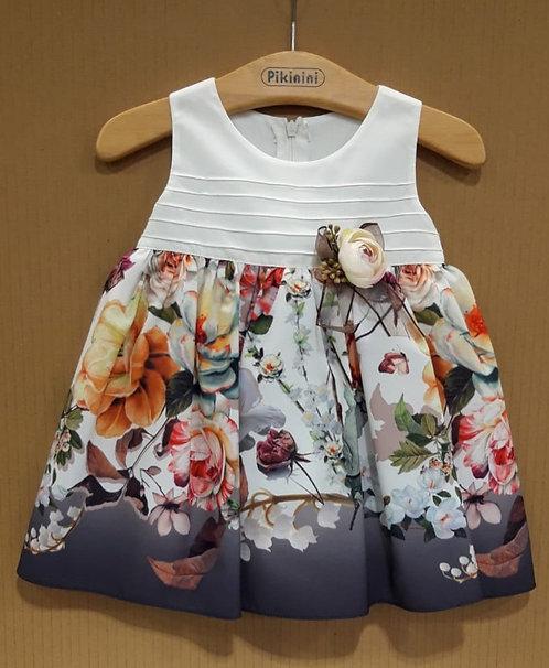 Çiçek Desenli Kurdelalı Krem-Füme-Karışık Renkli Bebek Abiye Elbise