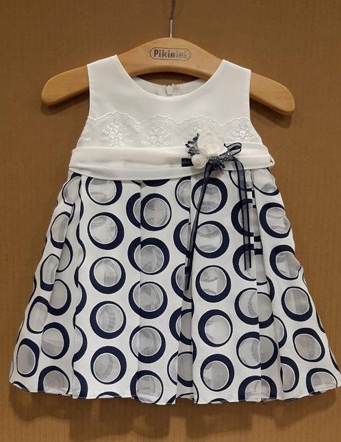 Lacivert Desenli Kurdelalı Krem Renkli Bebek Abiye Elbise