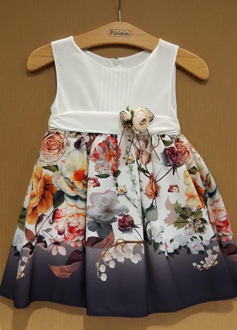 Çiçek Desenli Kurdelalı Krem-Füme-Karışık Renkli Çocuk Abiye Elbise