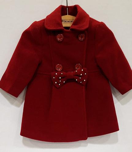 Yünlü Kırmızı Renk Şık Kız Bebek Manto