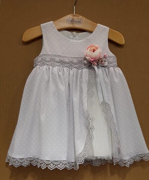 Puantiyeli Dantel Detaylı Lila Kız Bebek Abiye Elbise