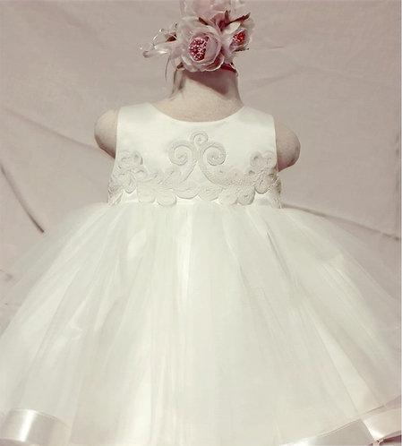 Tüllü Kabarık İşlemeli Ekru Kız Bebek Abiye Elbise