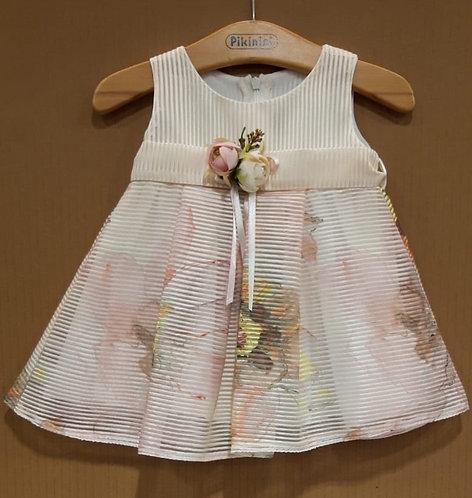 Çiçek Desenli Helezon Kumaş Bej-Pastel Renkli Bebek Abiye Elbise