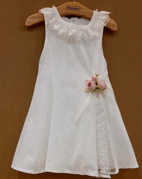Dantel Detaylı Beyaz Kız Çocuk Abiye Elbise