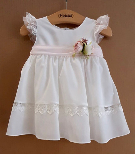 Dantel Detaylı Pudra Kurdelalı Beyaz Kız Bebek Abiye Elbise