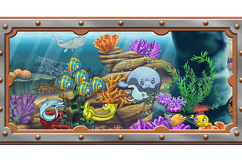 Undersea 4 x 8 framed mural