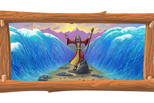 Moses Parting the Sea 4 x 8 framed mural