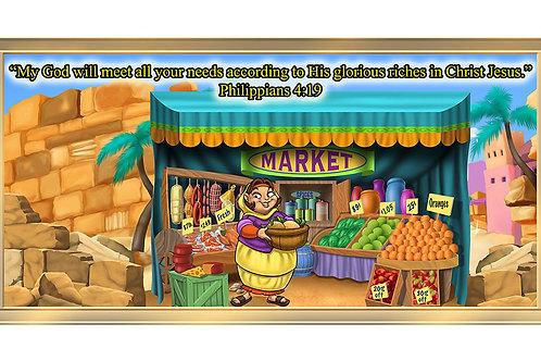 Bible Market 4 x 8 framed mural