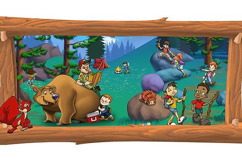 Camping 4 x 8 framed mural