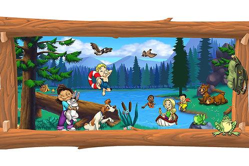 Lake Camping 4 x 8 framed mural