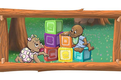 Baby Builders 4 x 8 framed mural