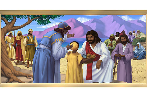 Jesus & the Children 4 x 8 framed mural