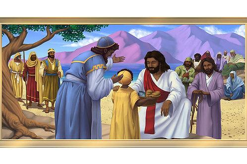 Jesus & the Children 4 x 8 framed mural