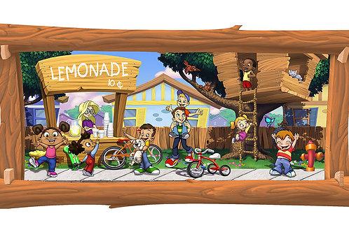 Lemonade Stand 4 x 8 framed mural