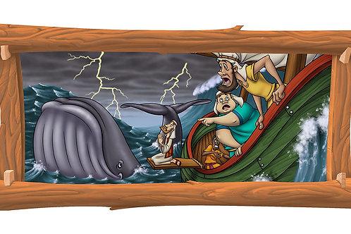 Jonah & the Whale 4 x 8 framed mural