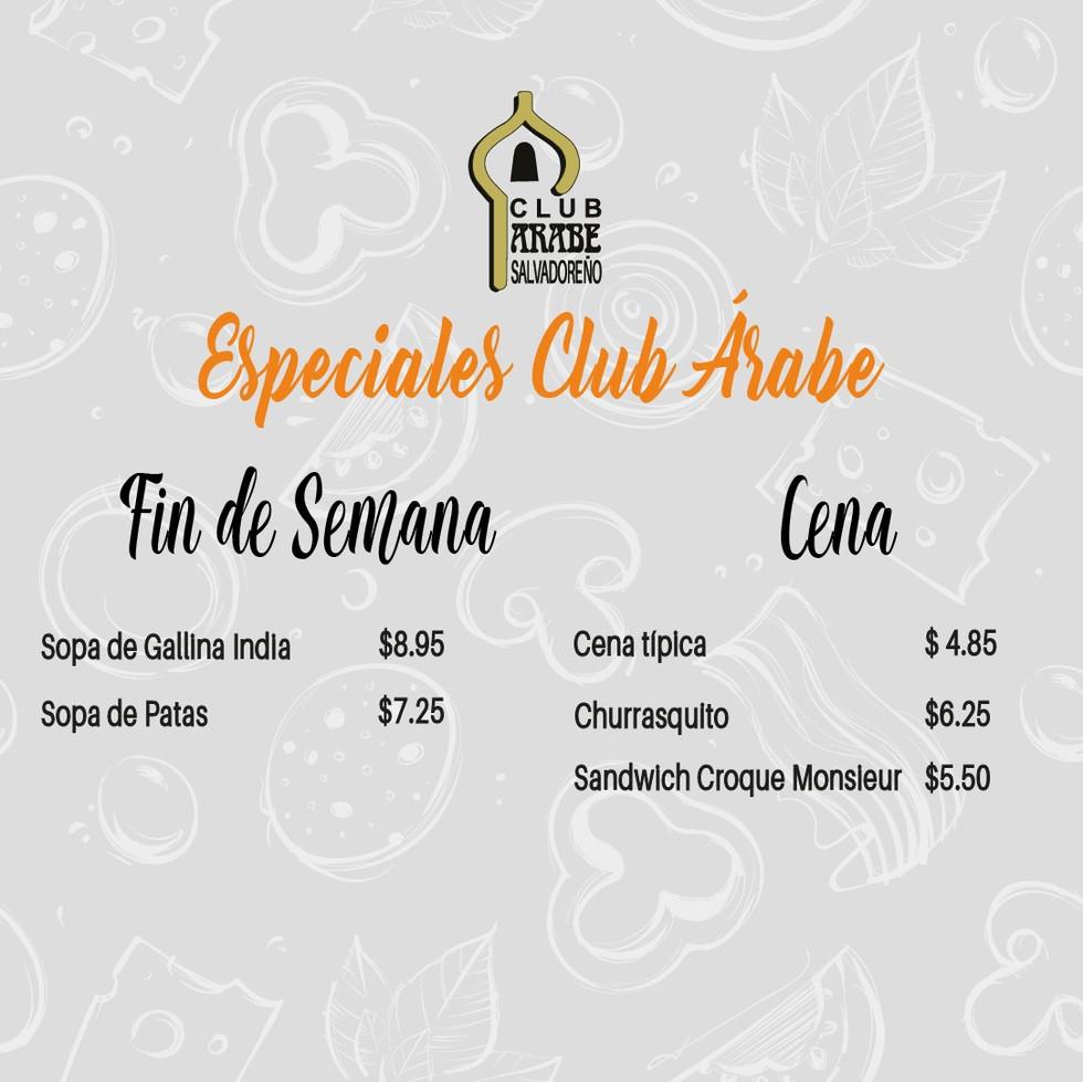 Comida a domicilio - Club Árabe Salvadoreño