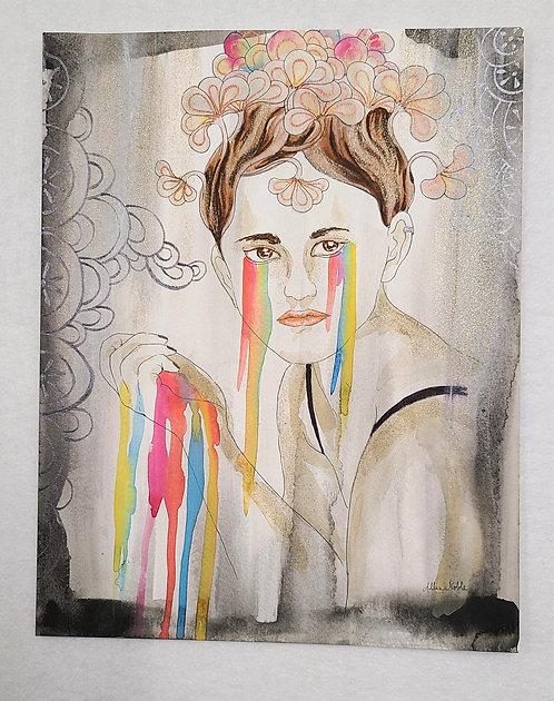 Whimsical Woman Watercolor: Rainbow