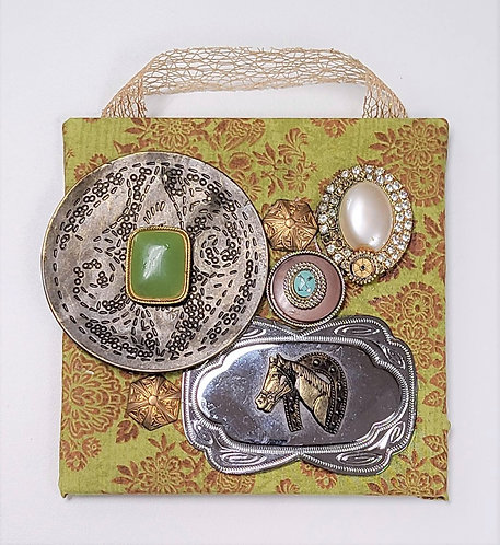 Mixed Media Assemblage on Tile - Horse Themed