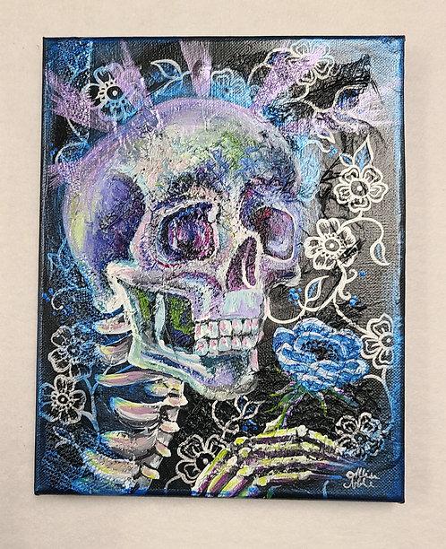 Mixed Media Skull Painting