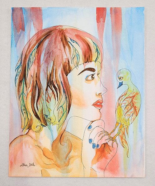 Whimsical Woman Watercolor: Bird