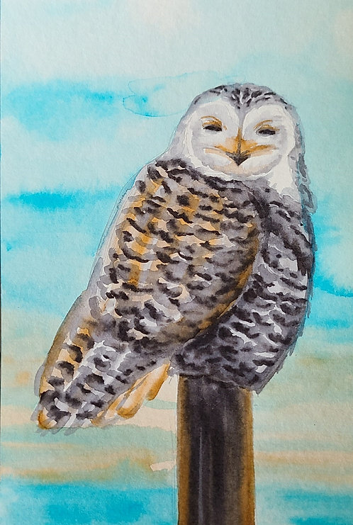 Ink Wash Painting: Owl