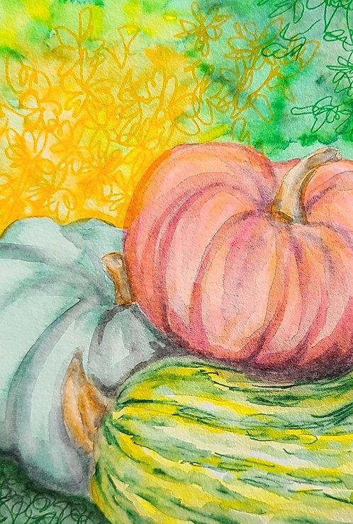 Ink Wash Painting: Pumpkin
