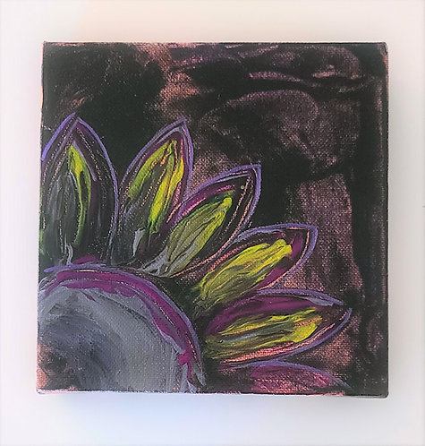 Black Sunflower Acrylic Painting