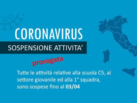 CORONAVIRUS: Sospensione Attività