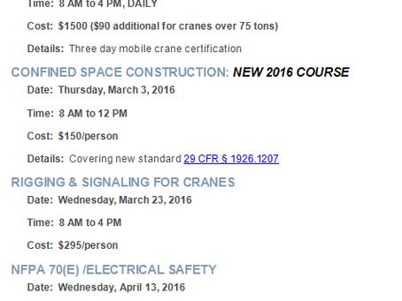 Winter 2016 Open Training Courses