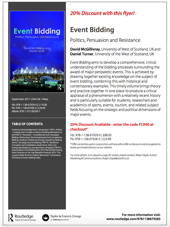 New book: Event Bidding - Politics, Persuasion and Resistance