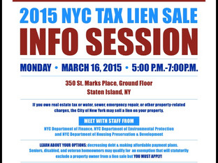 Information Session on Tax Liens to Be Held March 19 at 5 p.m.