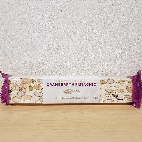 Cranberry & Pistachio Soft Nougat Bar– 165g