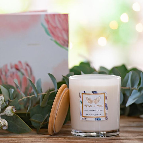 Triple Scented Large Soy Candle - Elderflower and Coconut 425g