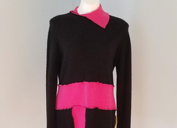 Black and Bright Garden Pink Sweater