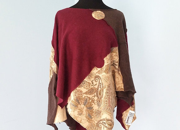Burgundy and Taupe Cashmere Poncho with Paisley