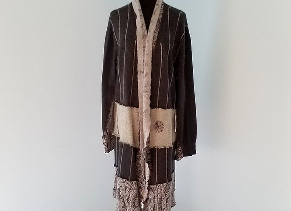 Gray Cashmere Cardigan with Paisley and Stripes size XL+
