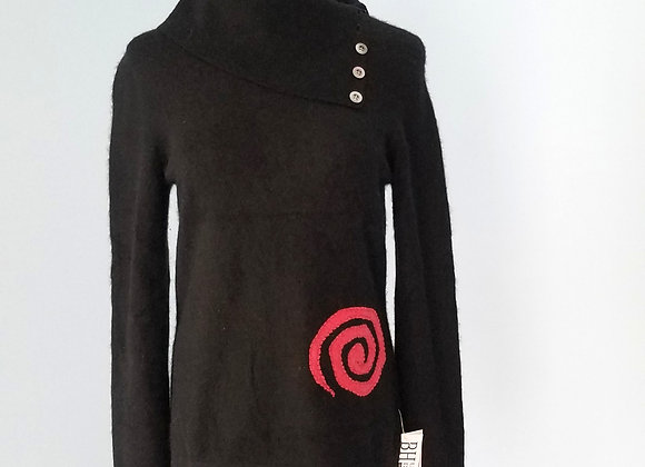Black Cashmere Sweater with Pink Touches size S