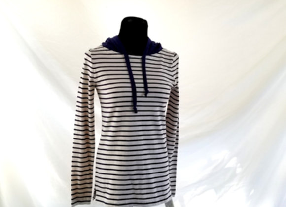 Nautical Striped Hoodie with Plaid Details