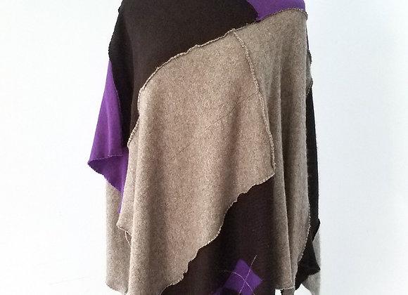 Gray, Black and Purple Cashmere Poncho