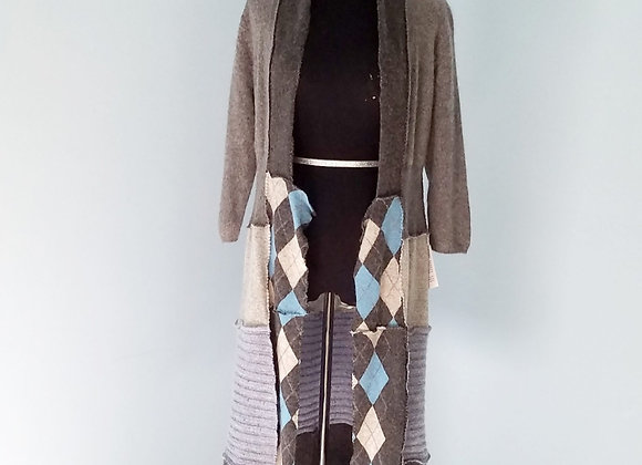 Gray, Blue and Camel Cardigan size S