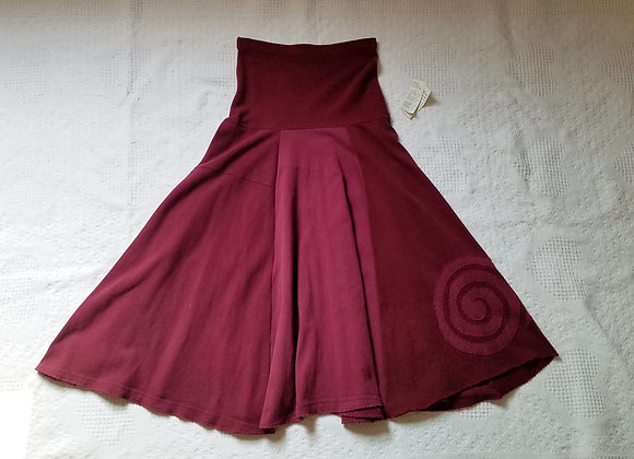 Red Wine Twirly Skirt with Spiral size XS