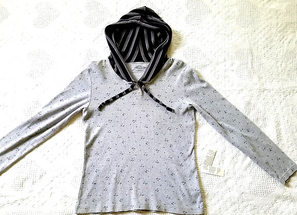 Ribbed Gray Hoodie with Flowers and Stripes