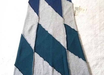 Gray, Blue and Teal Waffle Weave Midi Skirt, size S