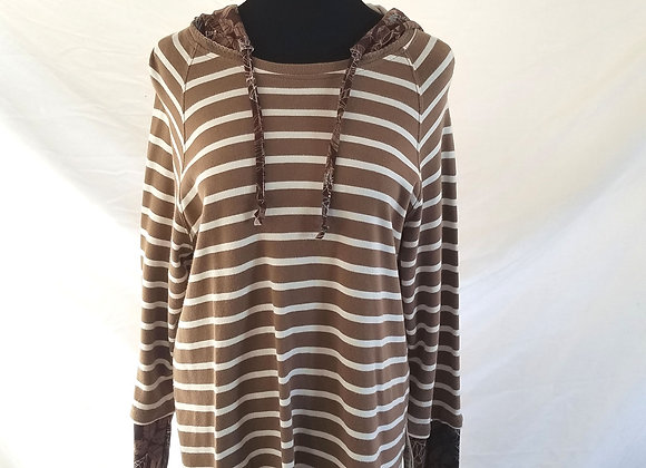 Cafe au Lait Striped Hoodie with Brown and Teal Leafy Print