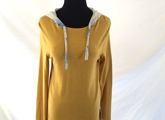 Gold Hoodie with Blue Floral Print