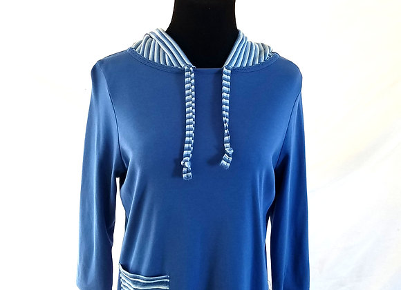 Blue Hoodie with Striped Pattern